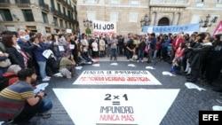 Manifestación en Barcelona contra la impunidad y a favor de los derechos humanos en Argentina.