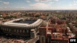 Vista aérea del estadio Santiago Bernabéu, en Madrid.