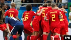 Bélgica celebra el triunfo sobre Japón.