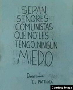 Cartel pintado en Mazorra por Daniel Llorente. Foto Cortesía Valdimir Turró.
