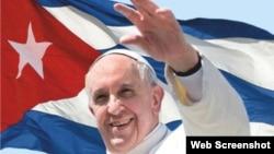 Cartel que anuncia la visita del papa Francisco a Cuba.