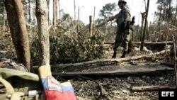 """El campamento de las Fuerzas Armadas Revolucionarias de Colombia (FARC) y donde fue abatido """"Raúl Reyes""""."""
