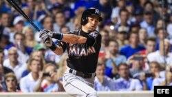 El jugador de Marlins Ichiro Suzuki, que llegó a 3 000 hits el domingo 7 de agosto frente a los Rockies de Colorado. (Archivo. EFE).artes 2 de agosto de 2016, durante un partido por la MLB en el Wrigley Field de Chicago, Illinois (EE.UU.). EFE/Tannen Maur