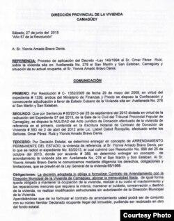 Documento expedido por la Dirección Provincial de Vivienda, Camagüey (I).