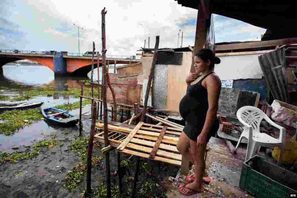 Una embarazada en una favela de Recife, la ciudad brasileña más afectada por el Zika. EFE