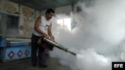ARCHIVO. Un hombre fumiga una pescadería contra el Aedes Aegypti (mosquito transmisor del dengue).