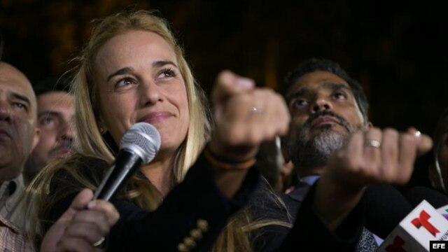 La esposa del dirigente opositor venezolano Leopoldo López, Lilian Tintori.