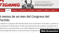 """""""Granma"""" reitera que el congreso comunista será en abril."""