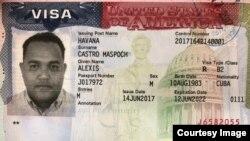 Visa estadounidense de Alexis Castro Maspoch, alias El Millonario.