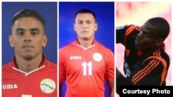 Deportistas cubanos que abandonaron su selección en la Copa Oro de la Concacaf: Darío Suárez, Keiler García y Arael Argüelles (i-d).