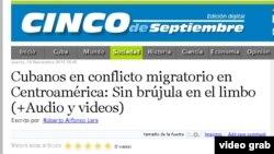 Reportaje del periódico provincial de Cienfuegos 5 de septiembre sobre crisis migratoria de cubanos en Centroamérica