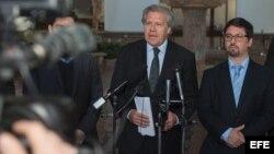 Fotografía cedida por la OEA de su secretario general, Luis Almagro (i), hablando con la prensa.