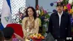Daniel Ortega, junto a la primera dama de Nicaragua, Rosario Murillo.
