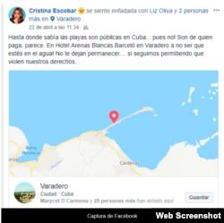 Foto Captura del perfil de Facebook de Cristina Escobar