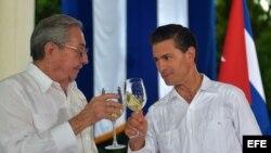 El presidente de México Enrique Peña Nieto y su homólogo cubano, Raúl Castro, reafirmaron sus nexos bilaterales en noviembre pasado.