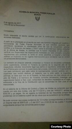 Carta-respuesta del Poder Popular a la cuentapropista Dairis González Ravelo (Detalle).