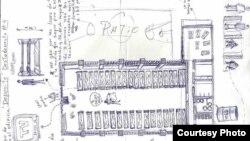 """Plano de la Compañía 4H, de la prisión Valle Grande, dibujada por Danilo Maldonado """"El Sexto""""."""