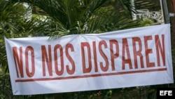 Vista de cartel en los alrededores de la Universidad Politécnica de Nicaragua (UPOLI), durante el séptimo día protesta contra el gobierno.