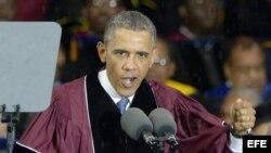 El presidente estadounidense, Barack Obama, en la universidad Morehouse College, en Atlanta, Georgia.