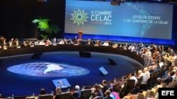 Vista general de la reunión de presidentes durante la segunda jornada de la II Cumbre de la Comunidad de Estados Latinoamericanos y Caribeños (Celac).