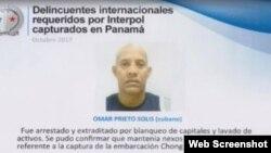 El cubano Omar Prieto Solís fue capturado en Panamá.