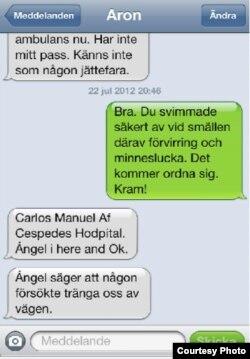 Imagen de los mensajes de texto enviados por Aron Modig.