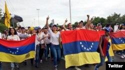 """El """"plantón"""" opositor en Anzoátegui. (NTN24 Venezuela)"""