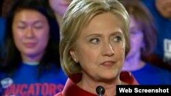 Hillary Clinton habla a sus simpatizantes tras derrotar a Bernie Sanders en los caucus de Nevada.Foto Archivo