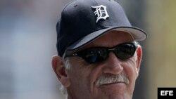 El entrenador de los Tigres de Detroit Jim Leyland.