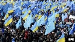 Activistas participan en una concentración antieuropea en la Plaza de la Independencia de Kiev (Ucrania) hoy, viernes 29 de noviembre de 2103.