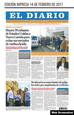 Primera Plana de El Diario de Nuevo Laredo, México