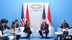 El presidente de EEUU, Donald Trump, se reunió con su homólogo de Indonesia, Joko Widodo.