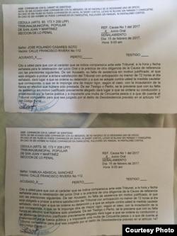 Documentos Acusación contra Rolando Casares y Yamilka Abascal