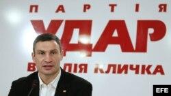 El campeón mundial de los pesos pesados de boxeo y líder de la recién fundada Alianza Democrática Ucraniana por las Reformas (UDAR), Vitaly Klitschko, en Kiev, Ucrania.