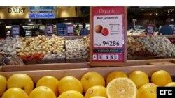 Alimentos orgánicos en supermercado estadounidense.
