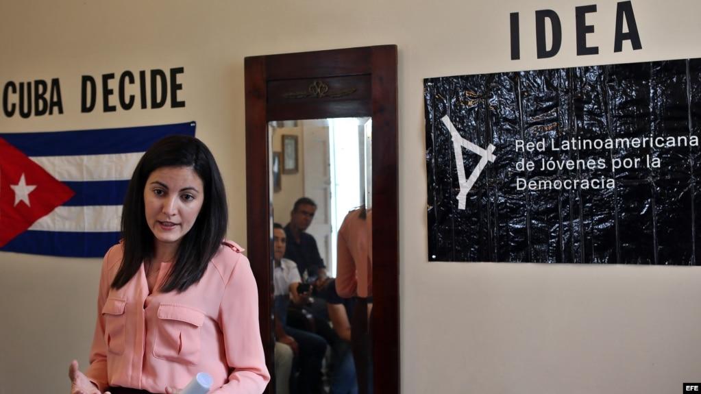 La opositora cubana Rosa María Payá durante la entrega simbólica del premio Oswaldo Payá.