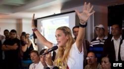 La esposa del opositor venezolano Leopoldo López, Lilian Tintori denuncia sabotaje en su contra. EFE