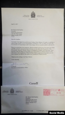 Carta de respuesta del gobierno canadiense al líder del Movimiento Democracia, Ramón Saúl Sánchez.