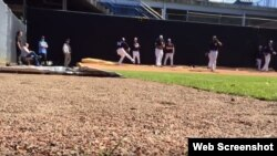 Aroldis Chapman (54) en el bullpen de los Yankees.