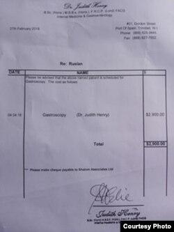 Uno de de los exámenes médicos que le indicaron cuesta 2.900 dólares.