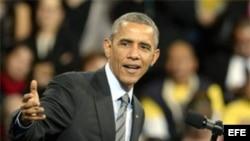 El Presidente de Estados Unidos, Barack Obama habla en Las Vegas