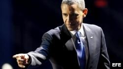 El presidente estadounidense Barack Obama celebra con sus seguidores la reelección para un segundo mandato.