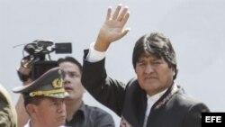 El presidente de Bolivia, Evo Morales, asistió el viernes 8 de marzo de 2013, a las exequias del presidente de Venezuela, Hugo Chávez, en Caracas (Venezuela).