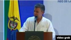 """Santos en """"el anuncio más importante que he hecho en mi vida"""": paz con las FARC se firma el 26 de septiembre en Cartagena."""