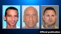 Buscados por fraude con tarjetas de crédito:(izq. a der) Juan Carlos Baños, Alejandro Moisés y Carlos Rodríguez Martinez