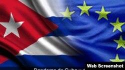 Banderas Cuba Union Europea