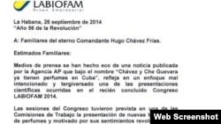 Carta enviada por Labiofam a familiares del Che Guevara y Hugo Chávez publicada en la web de estos laboratorios estatales.