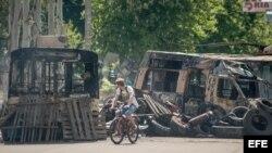 Protestas de activistas prorrusos en Kramatorsk.