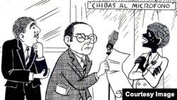 Eduardo Chibás, entre Chicharito y Sopeira. Caricatura de los años cuarenta.