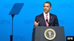 El presidente de Estados Unidos, Barack Obama, ofrece un discurso en la conferencia anual del Comité de Acción Política Americano-Israelí (AIPAC), en Washington.